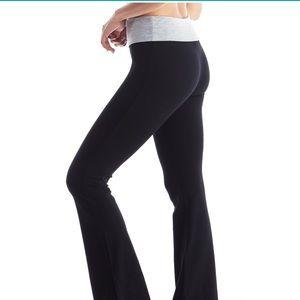 Yoga pants with gray fold over waist band